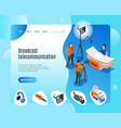 broadcast telecommunication landing page vector image vector image