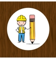 builder with pencil design vector image