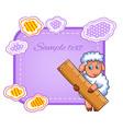 card with cartoon sheep character vector image
