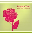 card with hand drawn ink rose on stripy background vector image vector image