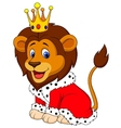 Cartoon lion in king outfit vector image vector image