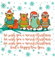 Christmas card with cartoon owl vector image vector image