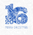 christmas card with decorative figures 2016 vector image vector image