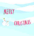 Christmas greeting card with snow man vector image vector image