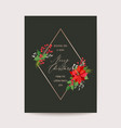 christmas greeting poinsettia flower card vector image vector image