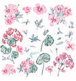 collection pink flowers and leaves vintage style vector image vector image