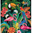 composition tropical flowers and birds vector image vector image