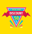 discount 50 percent off triangle badge with ribbon vector image vector image
