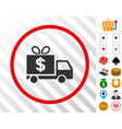 dollar gift delivery rounded icon with bonus vector image vector image