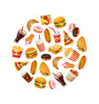 fast food dishes in circular shape croissant vector image vector image