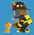 firefighter and kitten vector image vector image