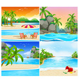 Four scene of beach and island vector image vector image