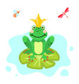 Frog prince cartoon green clip-art isolated