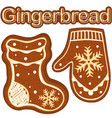 gingerbread sock and glove colorful bright poster vector image