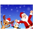 Happy cartoon Santa penguin and deer vector image