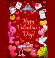 happy valentine day calligraphy heart balloons vector image