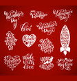happy valentines day big set calligraphic vector image