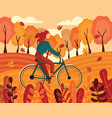 happy young woman riding a bike autumn vector image