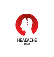 Headache logo with crack in a head Pharmaceutical vector image vector image