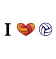 heart volleyball love vector image vector image