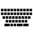 keyboard computer letter keys isolated black vector image