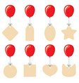 labels different shapes flying on balloons vector image