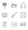music stuff icon set outline style vector image vector image