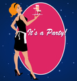 Party invitation with a cocktail waitress vector image vector image