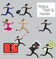 Police run to catch a Thief Hacker vector image