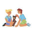 preschool or kindergarten kids playing together vector image vector image