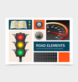 realistic road elements set vector image vector image