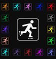 roller skating icon sign Lots of colorful symbols vector image