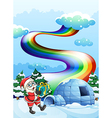 Santa Claus near the igloo and a rainbow in the vector image