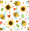 seamless pattern with bees and butterflies vector image vector image