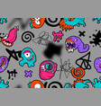 seamless pattern with cartoon monsters vector image