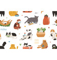 seamless pattern with cute funny cats playing and vector image vector image
