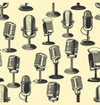 seamless pattern with retro microphones vector image