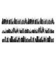 set city silhouettes cityscape town skyline vector image