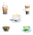 set of delicious hot drinks coffee tea vector image vector image