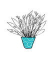 set of flowers vaves in doodle style vector image