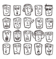 Sketch emoticons set vector image vector image
