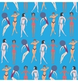 Summer seamless pattern of doodled women vector image