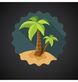 Summer Travel Sea Island with Palm flat icon vector image vector image