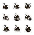 swans and waves icons vector image vector image