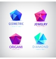 trendy flat design facet crystal gem shape logo vector image vector image
