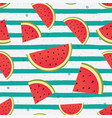 watermelon slices on striped background vector image vector image