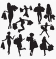 woman with shopping bag 2 silhouettes vector image