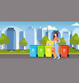 womanputting bucket with paper rubbish in vector image
