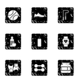 Workout icons set grunge style vector image vector image