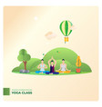 yoga class in outdoor park vector image